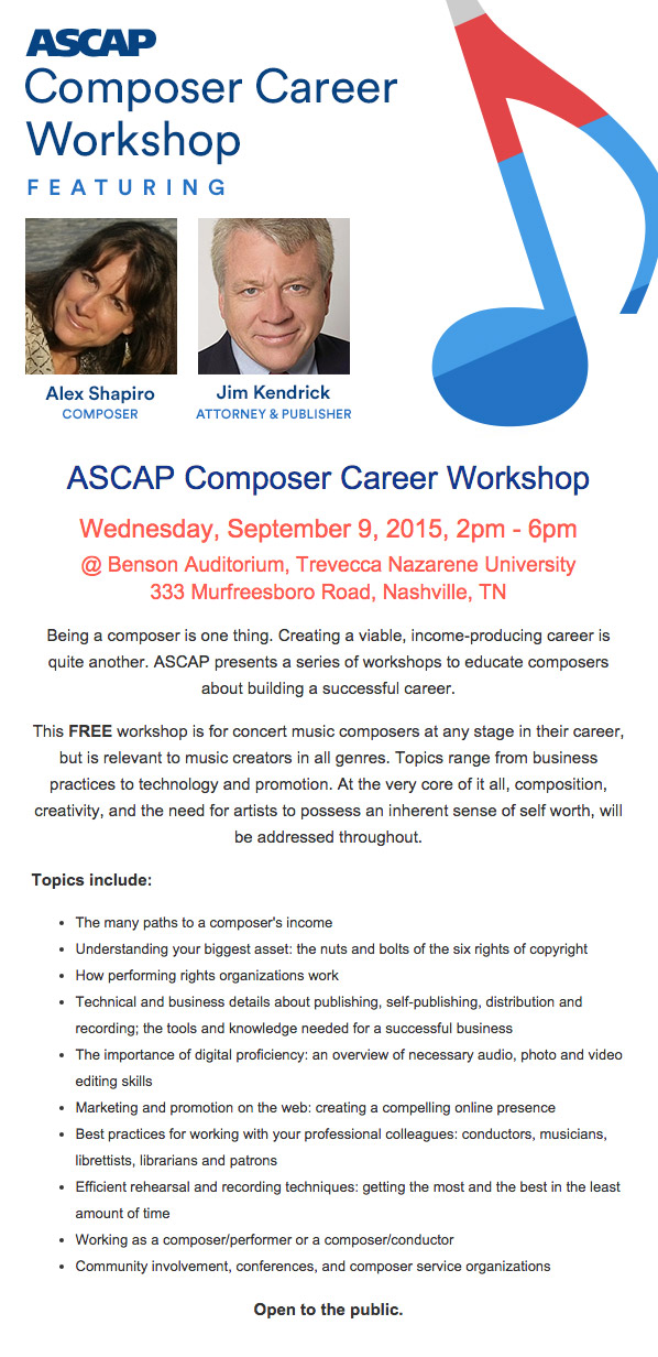 ASCAP Composer Career Workshop Flyer