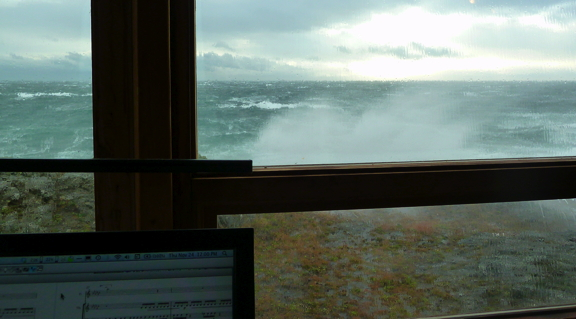 Alex desk view during a storm