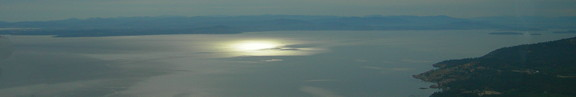 sun on Strait of San Juan de Fuca