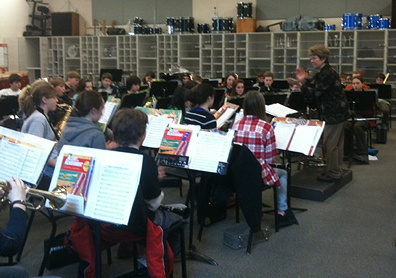 Janet Olsen rehearsing Friday Harbor Middle School Band