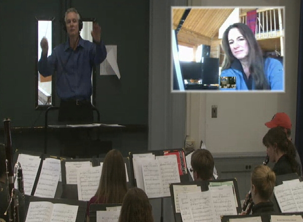 Skypehearsal with Alex, conductor Jerry Luckhardt, and Oregon State University Band.